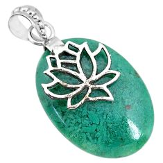 19.61cts natural green chalcedony 925 sterling silver flower pendant r91330