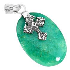 18.21cts natural green chalcedony 925 sterling silver holy cross pendant r91332