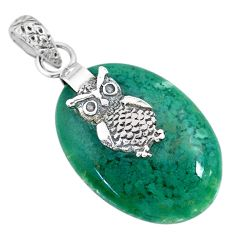 17.75cts natural green chalcedony 925 sterling silver owl pendant jewelry r91335