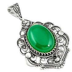 Natural green chalcedony 925 sterling silver pendant jewelry c21607