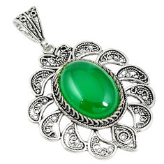 Natural green chalcedony 925 sterling silver pendant jewelry c21612