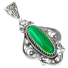 Natural green chalcedony 925 sterling silver pendant jewelry c21613