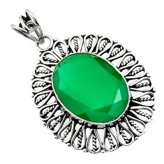 15.64cts natural green chalcedony 925 sterling silver pendant jewelry d44702