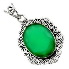 Clearance Sale- 13.77cts natural green chalcedony 925 sterling silver pendant jewelry d44708