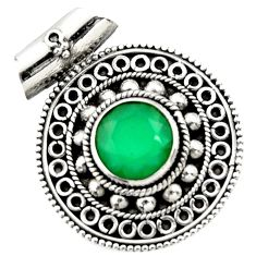 5.01cts natural green chalcedony 925 sterling silver pendant jewelry d44984