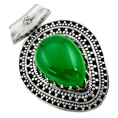 Clearance Sale- 14.21cts natural green chalcedony 925 sterling silver pendant jewelry d45009