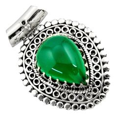 Clearance Sale- 13.53cts natural green chalcedony 925 sterling silver pendant jewelry d45010