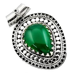 Clearance Sale- 13.55cts natural green chalcedony 925 sterling silver pendant jewelry d45030