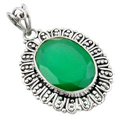 16.70cts natural green chalcedony 925 sterling silver pendant jewelry d46602