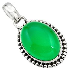 14.72cts natural green chalcedony 925 sterling silver pendant jewelry r26502