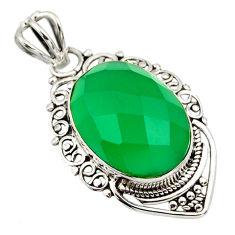11.73cts natural green chalcedony 925 sterling silver pendant jewelry r32275