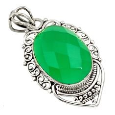 11.73cts natural green chalcedony 925 sterling silver pendant jewelry r32276