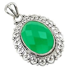 12.58cts natural green chalcedony 925 sterling silver pendant jewelry r32288