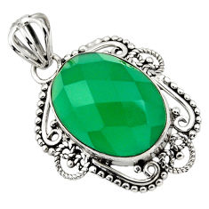 12.58cts natural green chalcedony 925 sterling silver pendant jewelry r32315