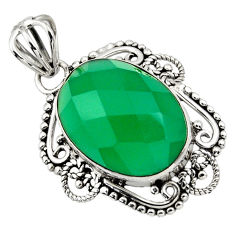 13.15cts natural green chalcedony 925 sterling silver pendant jewelry r32316