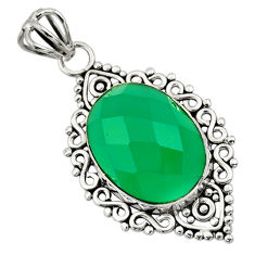 13.15cts natural green chalcedony 925 sterling silver pendant jewelry r32348