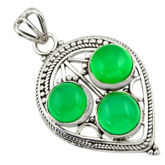 9.39cts natural green chalcedony 925 sterling silver pendant jewelry r32388