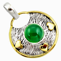 4.93cts natural green chalcedony 925 sterling silver pendant jewelry r37141