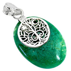19.58cts natural green chalcedony 925 sterling silver pendant jewelry r91321