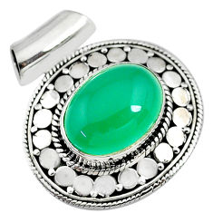 10.46cts natural green chalcedony 925 sterling silver pendant jewelry t10645