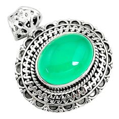 9.65cts natural green chalcedony 925 sterling silver pendant jewelry t10646