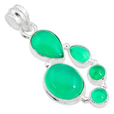 13.69cts natural green chalcedony 925 sterling silver pendant jewelry t10649