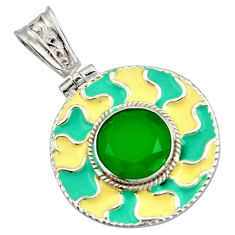 5.96cts natural green chalcedony enamel 925 sterling silver pendant r42022