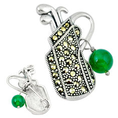 Natural green chalcedony marcasite 925 silver golf stick charm pendant c21828