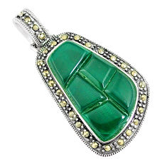 8.73cts natural green chalcedony marcasite 925 sterling silver pendant c16511