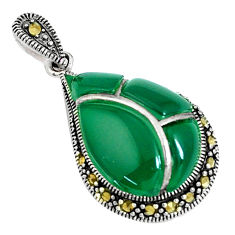 5.51cts natural green chalcedony marcasite 925 sterling silver pendant c16704