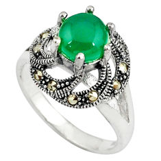 Natural green chalcedony marcasite 925 silver ring jewelry size 8 c17287