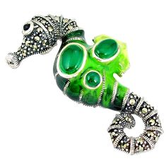 Natural green chalcedony marcasite 925 silver seahorse pendant c21049