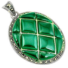 Natural green chalcedony marcasite 925 sterling silver pendant jewelry c16734