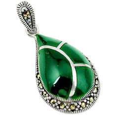 Natural green chalcedony marcasite 925 sterling silver pendant jewelry c18950