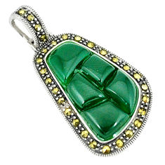 Natural green chalcedony marcasite 925 sterling silver pendant c17208