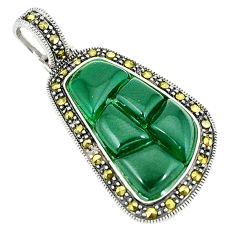 Natural green chalcedony marcasite 925 sterling silver pendant c17219