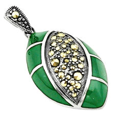 Natural green chalcedony marcasite 925 sterling silver pendant c17164