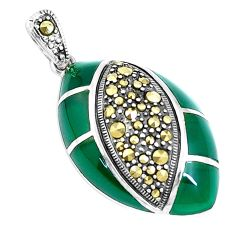 4.94cts natural green chalcedony marcasite 925 sterling silver pendant c20860