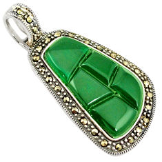 Natural green chalcedony marcasite 925 sterling silver pendant c21872