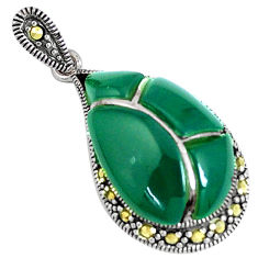 5.87cts natural green chalcedony marcasite 925 sterling silver pendant c26134