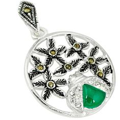 Natural green chalcedony marcasite 925 sterling silver pendant jewelry c21971
