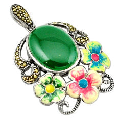 Natural green chalcedony marcasite enamel 925 silver flower pendant c21475