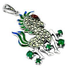 Natural green chalcedony marcasite enamel 925 silver horse pendant c16570