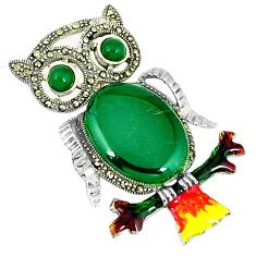 Natural green chalcedony marcasite enamel 925 silver owl pendant jewelry c16458