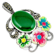 Natural green chalcedony marcasite enamel 925 silver flower pendant c18914