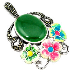 Natural green chalcedony marcasite enamel silver flower pendant a44246 c18916