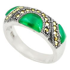 Natural green chalcedony marcasite 925 silver ring jewelry size 7.5 c17262