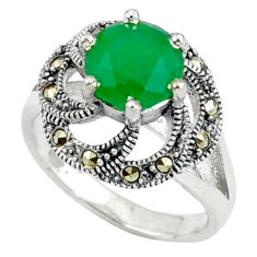 Natural green chalcedony marcasite 925 sterling silver ring size 7.5 c17283