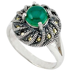 Natural green chalcedony round marcasite 925 silver ring size 8.5 c17288