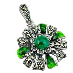 Natural green chalcedony round marcasite enamel 925 silver pendant c18810